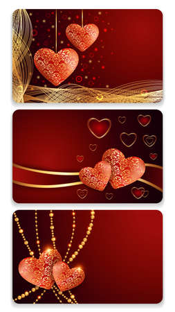 festal: Illustration of valentines day card templates with lacy silky hearts Illustration