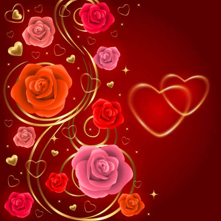 Illustration of valentines day card template with roses and gold hearts