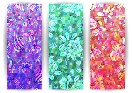 Illustration of banner set with floral ornament on triangle mosaic background