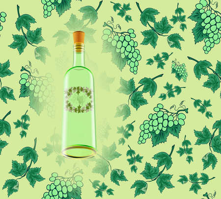 Illustration of wine bottle with label and seamless grape background