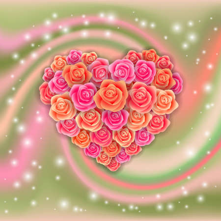 Illustration of valentines day card template with hearts made of roses and swirl background