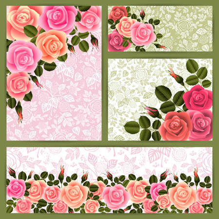 festal: Illustration of card templates with roses and floral background