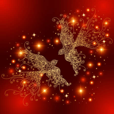 Illustration of abstract doodle birds in gold color and heart shaped glitters Illustration
