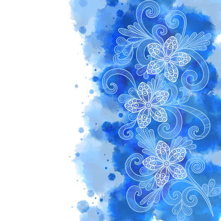 Illustration of floral doodles with watercolor splatters background in blue colors