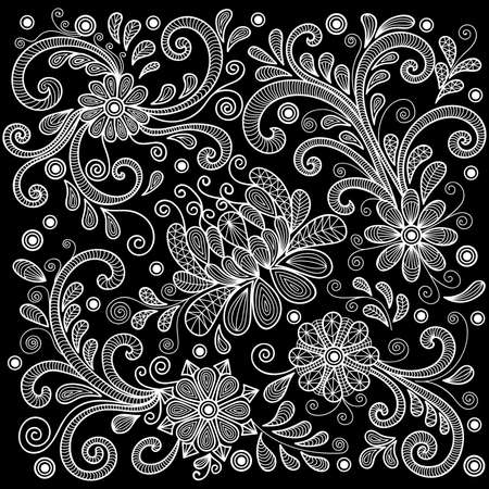 black: Illustration of abstract floral doodle lacy ornament in white color on black background Illustration