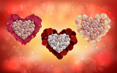 Illustration of heart collection made from pearls, rose petals with glitter background