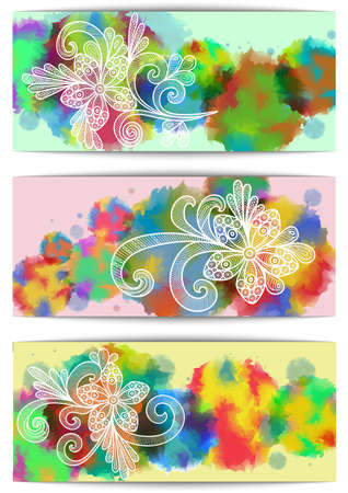 Illustration of banners with floral doodles and colorful watercolor splatters Illustration
