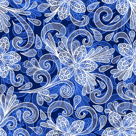 Illustration of seamless pattern with abstract doodle flowers in blue colors Illustration
