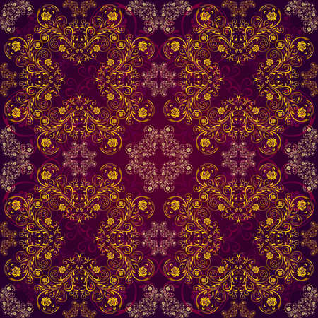 Illustration of seamless pattern with abstract ornament in gold and purple colors Illustration