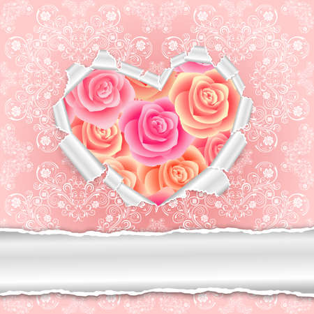 torn heart: Illustration of template for wedding, greeting, invitation or valentines day card with torn paper heart, roses and floral ornamental background