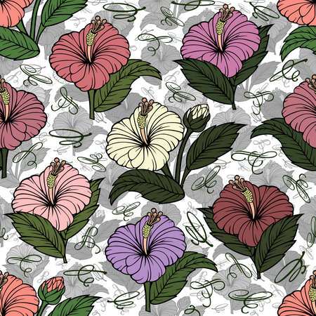 Illustration of seamless  floral pattern with hibiscus flowers and calligraphic elements Illustration