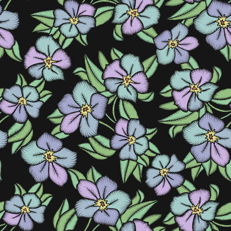 Illustration of seamless  floral pattern with leaves and flowers on black background Illustration