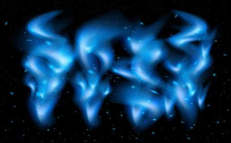 Illustration of blue flame tips and sparks on black background Illustration