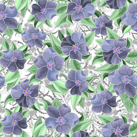 Illustration of seamless  floral pattern with leaves and flowers isolated