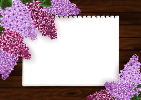 Illustration of greeting or invitation card template with lilac flowers, blank paper sheets and wooden background