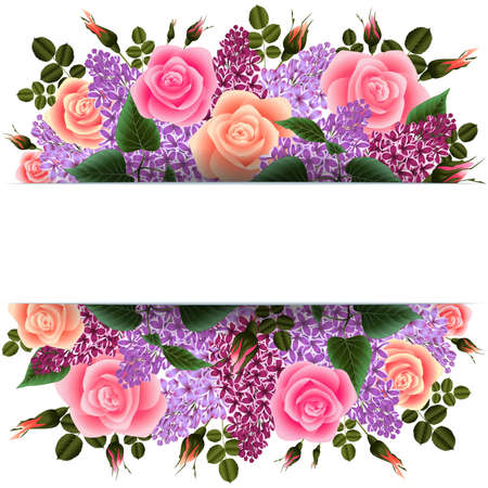 Illustration of horizontal banner with roses and lilac flowers isolated