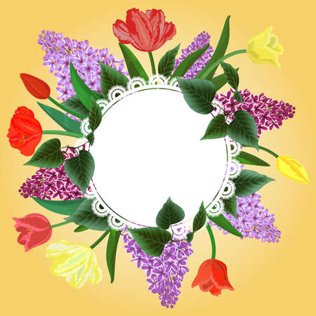 Illustration of round banner with tulip and lilac flowers