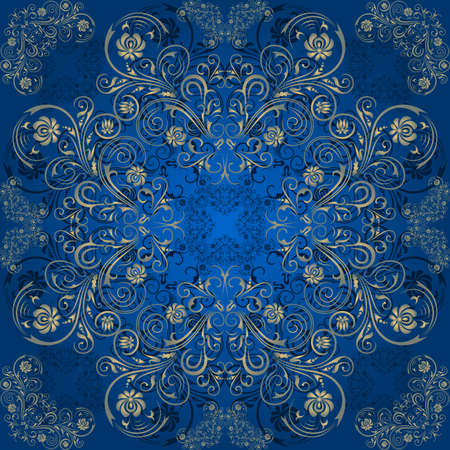 Illustration of seamless pattern with abstract ornament in gold and blue colors Illustration