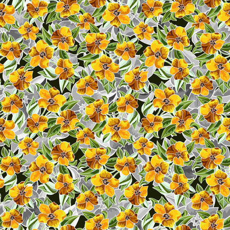 Illustration of seamless  floral pattern with leaves and flowers