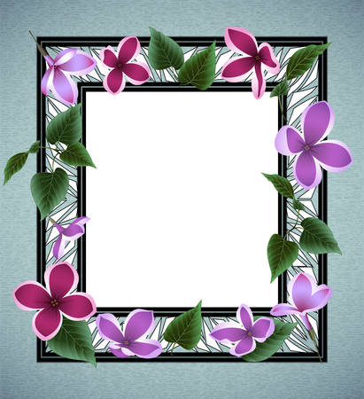 Illustration of abstract floral frame with lilac flowers, leaves and triangle elements