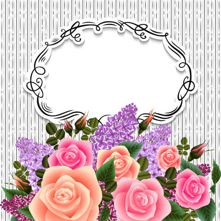 Illustration of greeting or invitation card template with roses and lilac flowers