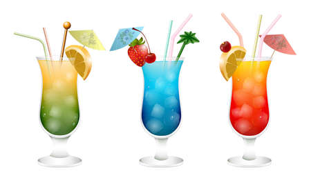 stirrer: Illustration of various alcoholic cocktail set isolated