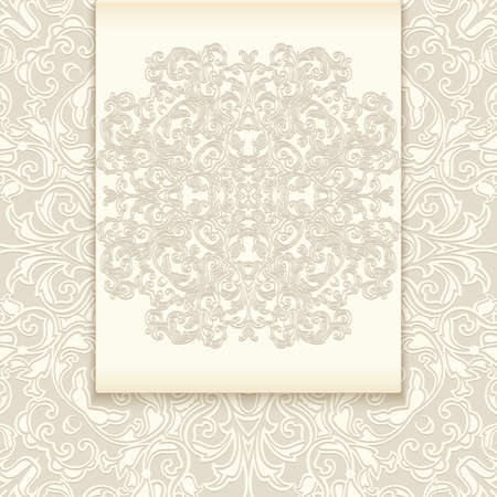 Illustration of greeting or invitation card template with abstract lacy ornament