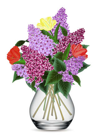 Illustration of bouquet from lilac and tulip flowers isolated