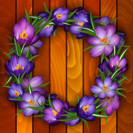 crocus: Illustration of wreath from purple crocus flowers on wood background