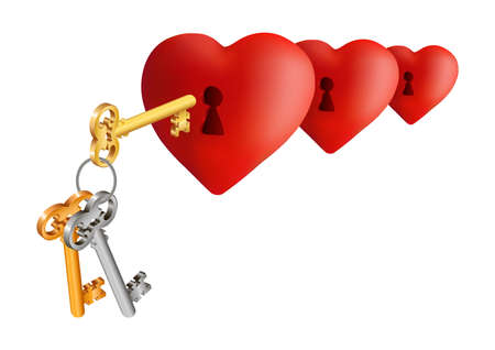 Illustration of hearts with keyholes and key bunch isolated