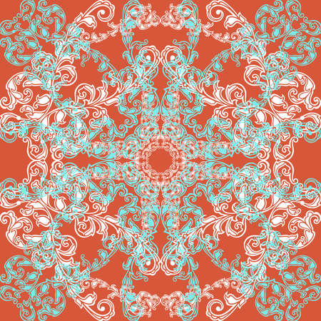 Illustration of seamless pattern with abstract ornament in blue, white and orange colors Illustration