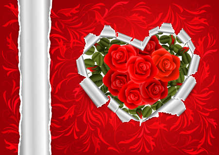 Illustration of torn paper heart with red roses and floral ornament