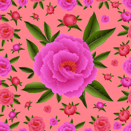 Illustration of seamless pattern with peony flowers and leaves Illustration