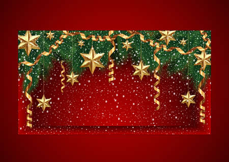 shopfront: Illustration of Christmas showcase template decorated with fir tree branches, gold stars, paper streamers and snow