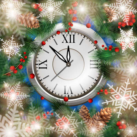 Illustration of Christmas or New Year decoration with fir tree branches, fir cones, holly, clock and snowflake background