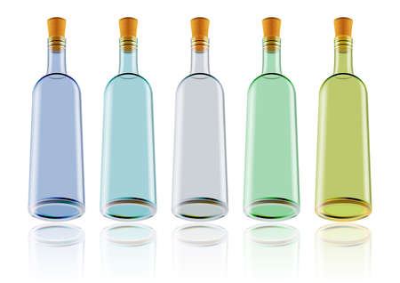 Illustration of wine bottles in various colors isolated Illustration