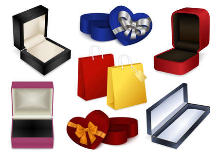 Illustration of jewelry boxes, heart shaped gift boxes with bows and shopping bags isolated