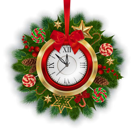 Illustration of Christmas or New Year decoration with fir tree branches, fir cones, holly, clock, stars, candies and lollipops isolated