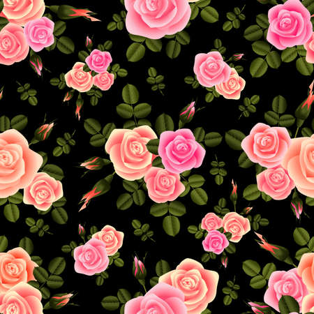 Illustration of seamless pattern from roses in pink colors and green leaves on black background