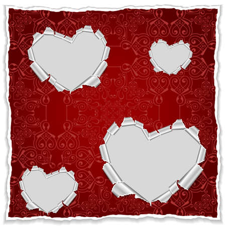 Illustration of template for greeting, invitation or valentines day card with torn paper hearts and ornamental background