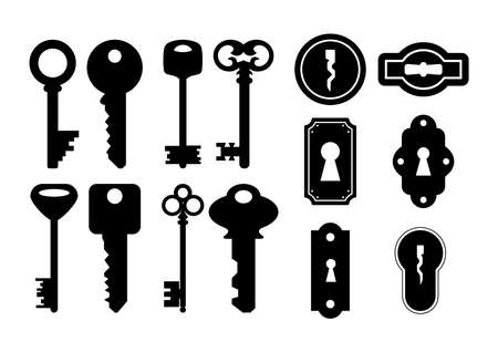 Illustration of house keys and keyholes in black color isolated Illustration