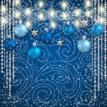 Illustration of Christmas or New Year decoration with blue balls, silver stars, lights, snowflake background and snowstorm ornament