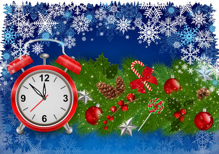 Illustration of Christmas or New Year decoration with fir tree branches, alarm clock, balls, fir cones, stars, holly and snowflake background