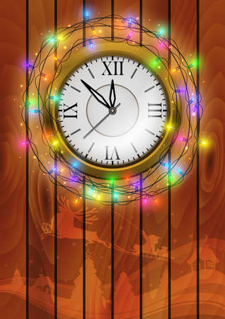Illustration of Christmas or New Year decoration with clock, lights and wood background