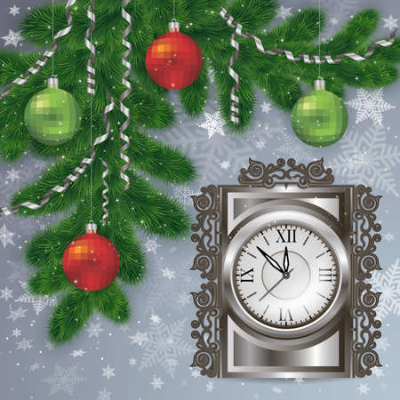 Illustration of Christmas decoration with fir tree branches, balls, streamers, clock and snowflake background