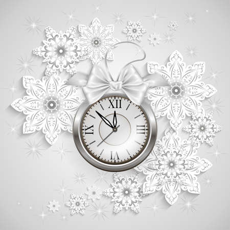 Illustration of Christmas or New Year decoration with clock, bow and snowflake background