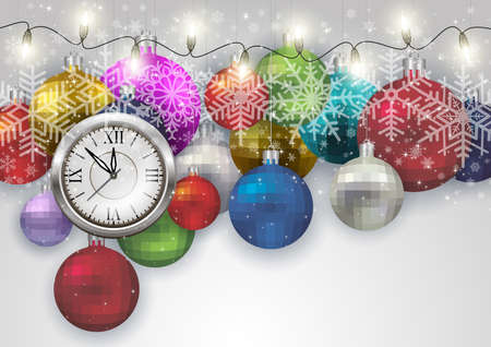 Illustration of Christmas or New Year decoration with clock, colorful balls, lights and snowflakes Illustration