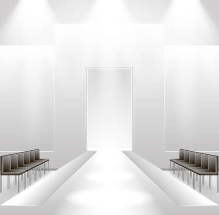 Illustration of empty illuminated catwalk with chairs