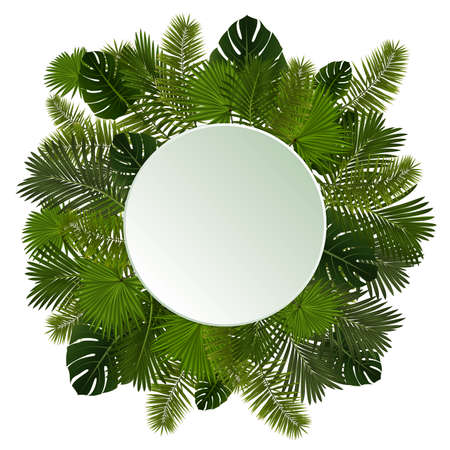 Illustration of various palm leaves with round banner isolated