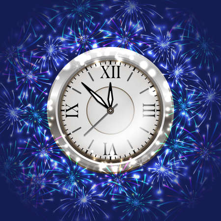 Illustration of Christmas or New Year decoration with clock and colorful fireworks on blue background
